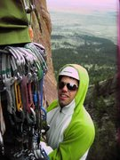 Rock Climbing Photo: Rappin from the second set of rap rings, look at t...