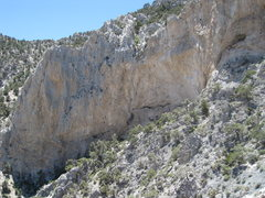 Rock Climbing Photo: Third tier at Clark Mountain. Tiny spec in the mid...