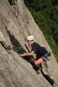 Rock Climbing Photo: Hale on the crux thin section up toward the top of...