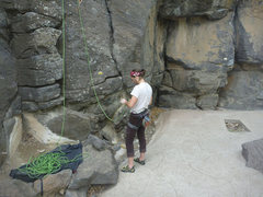 Rock Climbing Photo: belaying off a pool deck