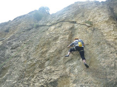 Michelle headed for the crux undercling.