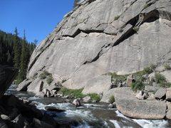 Rock Climbing Photo: Matt Bruton just past the bulge, approaches the &q...
