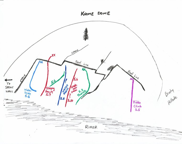 Rock Climbing Photo: Knome Dome route map.