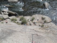 Rock Climbing Photo: Looking down from the anchors of Sleeping Beauty.