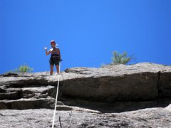Rock Climbing Photo: Brenda at the anchors to Sleeping Beauty, with the...