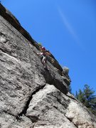 "Rock Climbing Photo: Brenda just past the crux of ""Tourists and Fi..."