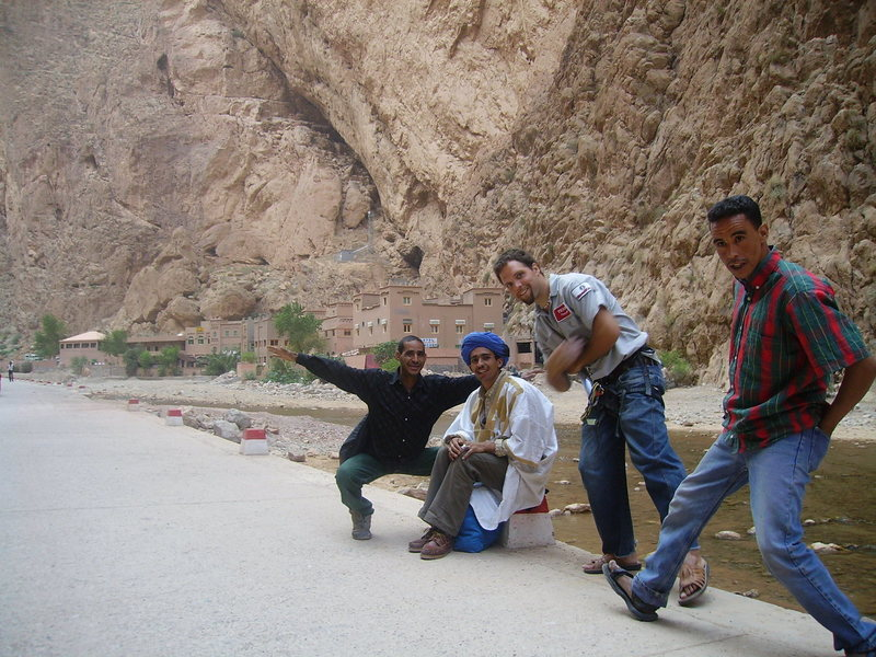 my todra peeps!!!... Hassan, the author of the guidebook, is on the left with his arms spread.  If you need a climbing partner and guide, talk to Muhammad, on the far right