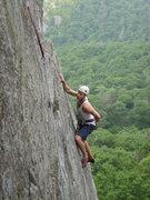Rock Climbing Photo: David finishing up P1