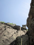 Rock Climbing Photo: 4th pitch, second crux (5.6) is one technical move...