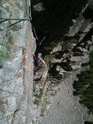 Rock Climbing Photo: Heather cruising up the fun, easy P3.