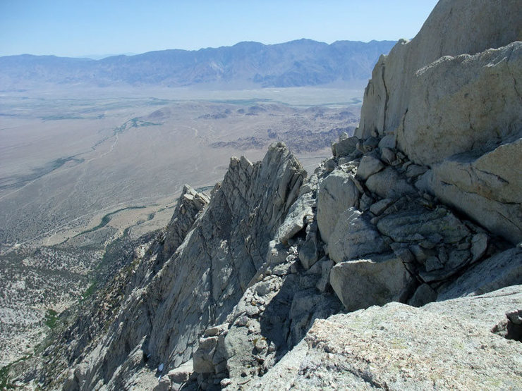 looking back down the long ridgeline to the Owens Valley