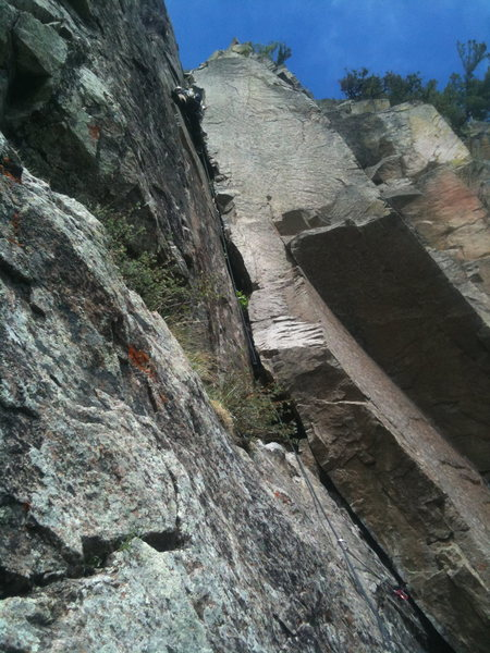 Drew McLean enjoying  P5.   The crux was removing the #5 from deep within the offwidth crack :-)