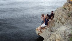 Rock Climbing Photo: Getting a closer look and finding out how cold the...