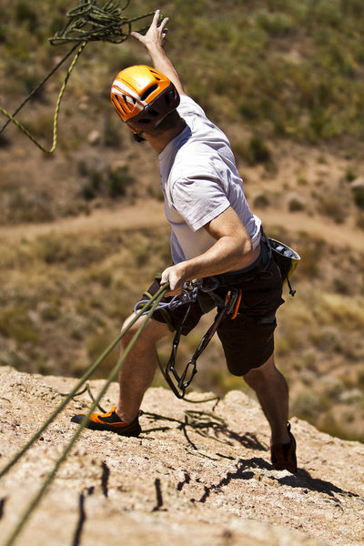 Rock Climbing Photo: James tossing the rope off on the rap from Skyline...