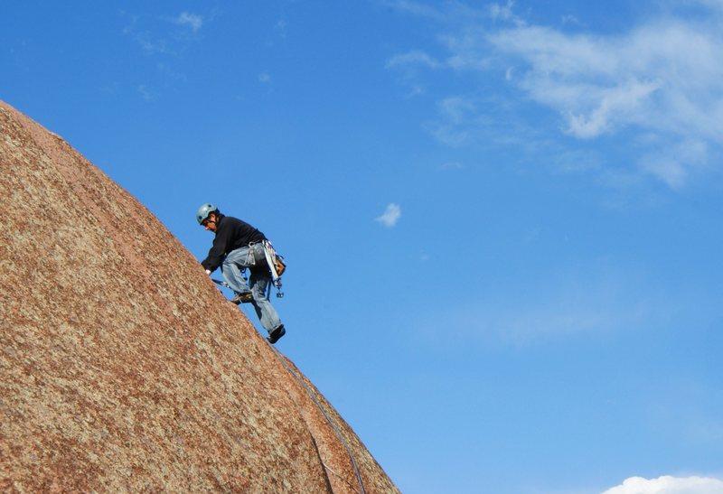 Rock Climbing Photo: Climber on the upper part of Kim.