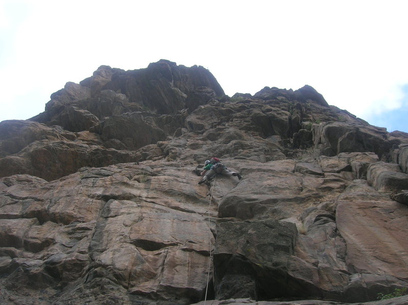 Rock Climbing Photo: The crux of the awesome 3rd pitch.