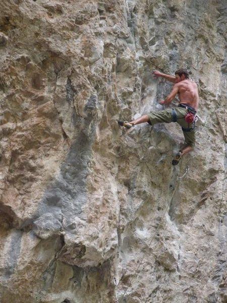 Rock Climbing Photo: Sam entering the crux.