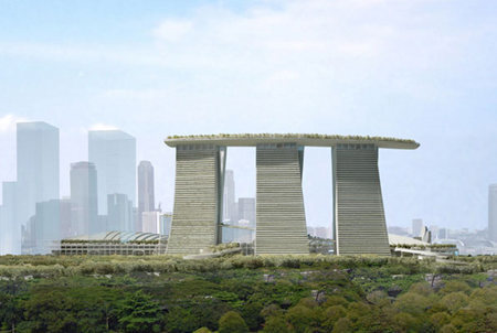 Buildering on the Marina Bay Sands in Singapore.  Lay-backing 55 stories of overhanging glass!