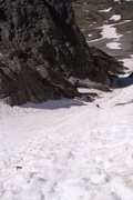 Rock Climbing Photo: Lower portion of the couloir.  Small debris runnel...