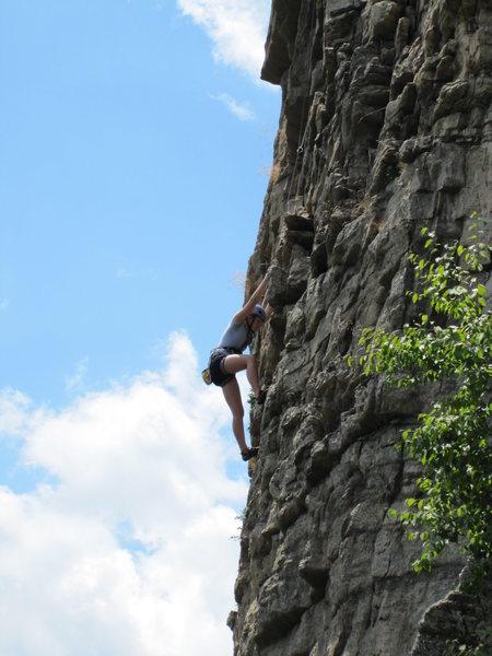 Climber following final pitch of Madame G's.  Shot from belay atop Hyjek's.