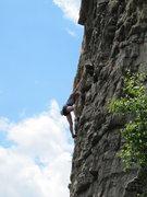 Rock Climbing Photo: Climber following final pitch of Madame G's.  Shot...