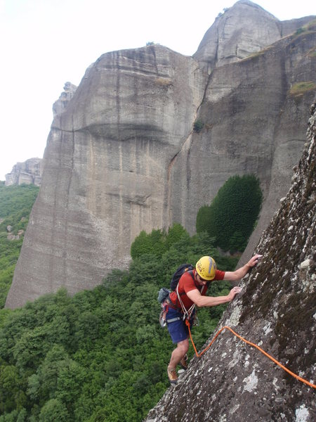 Rock Climbing Photo: John traversing to the anchor at the end of the 2n...