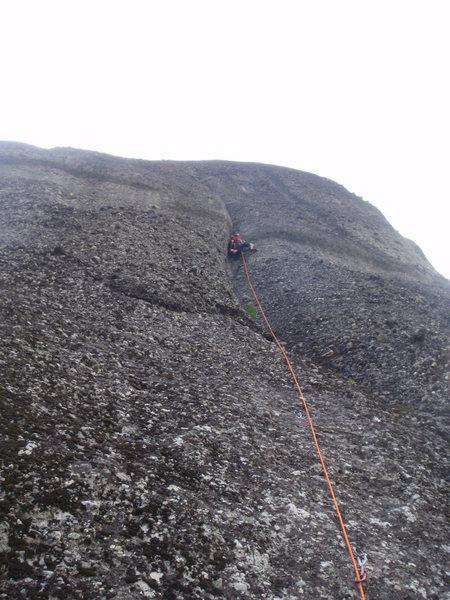 Rock Climbing Photo: John starting the crux.