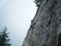 Rock Climbing Photo: Said reaching big to find some purchase on the rai...
