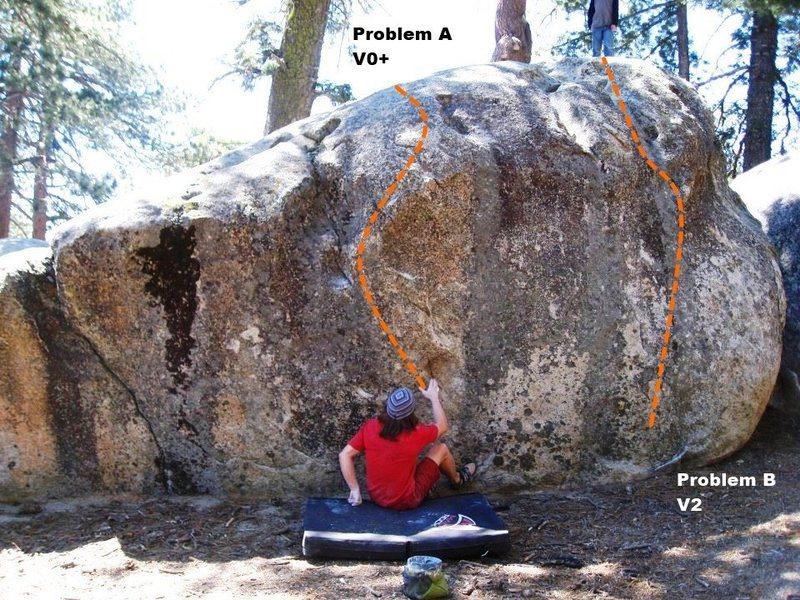 Rock Climbing Photo: Squat Boulder South Face Topo