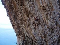 Rock Climbing Photo: John giving DNA a shot.
