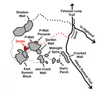Rock Climbing Photo: The Grotto area is shown in red.