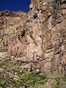 Rock Climbing Photo: Climbs the arete above the ropebag in the center o...