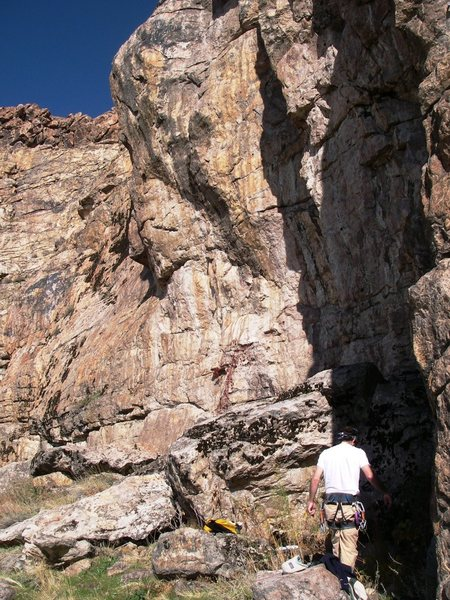 the corner around (on the north side of) the arete