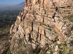 Rock Climbing Photo: Nico standing on the upper ledge looking (north) t...