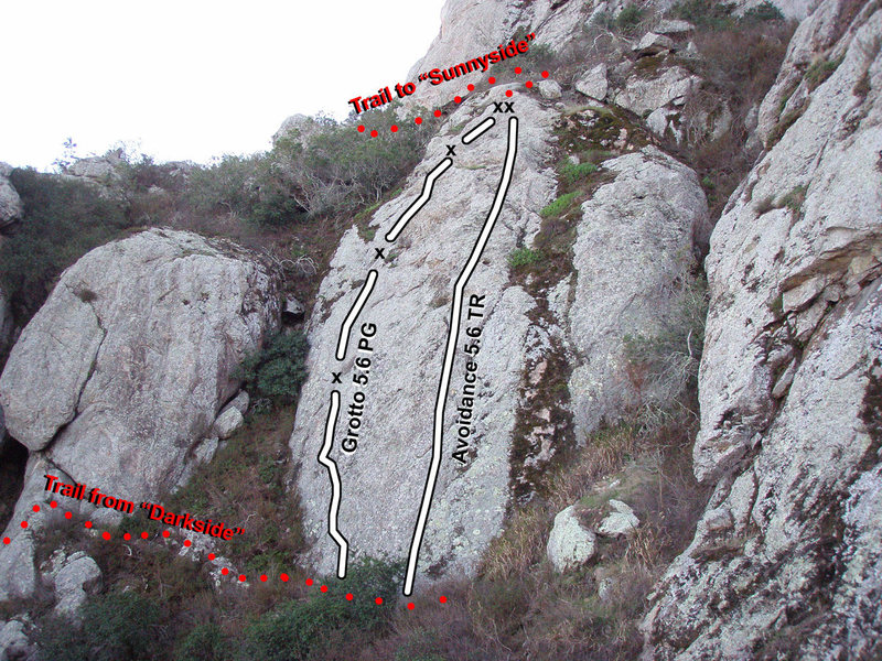 "Photo Topo showing ""Grotto"" (5.6 PG) and ""Avoidance"" (5.6) TR."