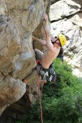 Rock Climbing Photo: 1st bolt on Poker Face. I believe the climber's na...