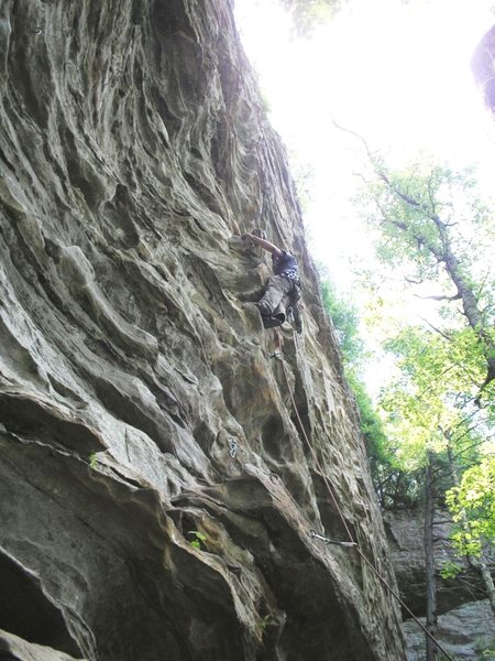 5.10a lead at Great Wall in Muir Valley, RRG.