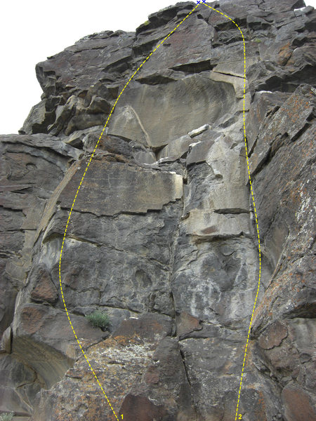 Rock Climbing Photo: 1 - Kings  & Queens (5.8) 2 - Ririe Gully (5.6)