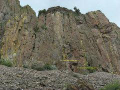 Rock Climbing Photo: 1 - Arial Boundaries (5.9) 2 - Aerial-Fantasy (5.9...