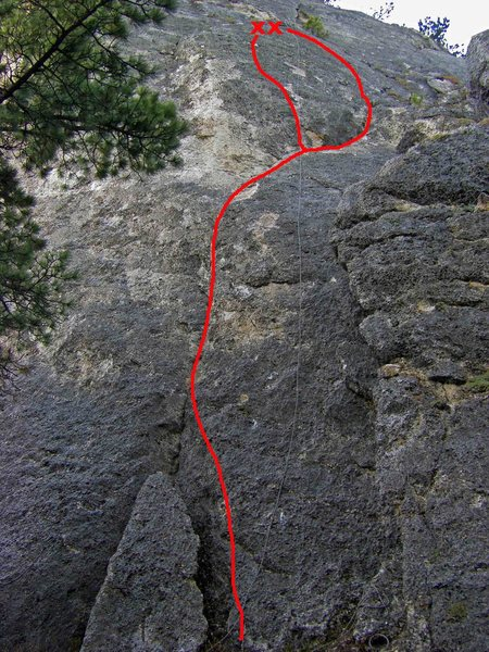 Rock Climbing Photo: Rough Drafts follows the right line on the upper h...