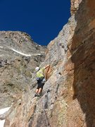 Rock Climbing Photo: Andy Grauch starting up the first pitch of The Rou...