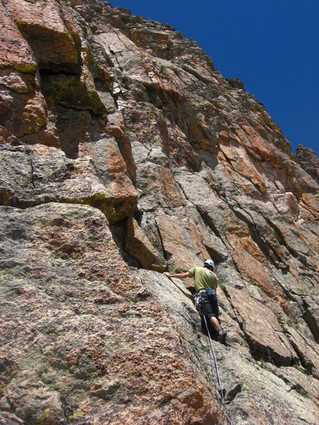 Andy Grauch starting up the fourth pitch of The Route That Kor Forgot on 6/20/10.  Photo by Chris Sheridan.