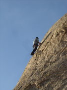 Rock Climbing Photo: Thin grips and blue skies up there....