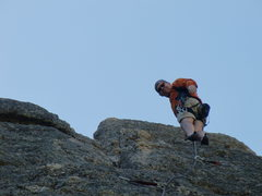 "Rock Climbing Photo: Pat Geoghegan at summit of ""Better Pool than ..."