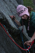 Rock Climbing Photo: Jenni cleans gear from Snowflake at midnight on an...