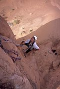 Rock Climbing Photo: Strappo following and cleaning during the first as...