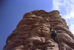 Rock Climbing Photo: strappo leading on first ascent, fighting the wind...