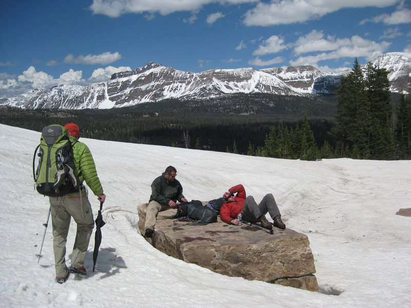 Umbrella retrieval mission at the Moosehorn. Hayden peak looking snowy in the background.