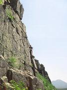 Rock Climbing Photo: Teresa getting rid of the rope drag.