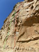 Rock Climbing Photo: Green- R.I.P. 5.11b Red- Screamin Bats 5.12a